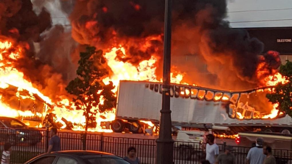 One driver dead following fiery truck crash in Brampton