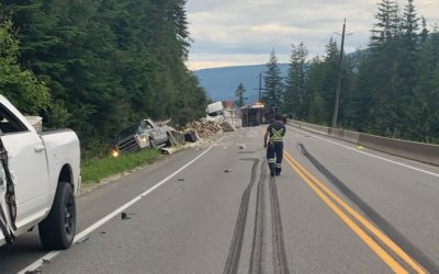 Tractor-trailer rolls over on the Trans-Canada Highway